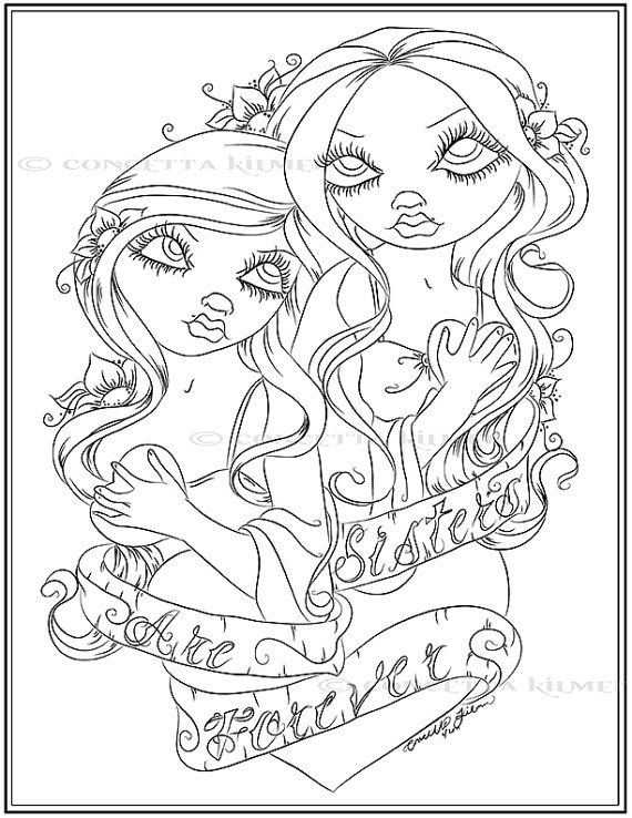 Adult Coloring Page Fantasy Art Coloring Page Sister Themed