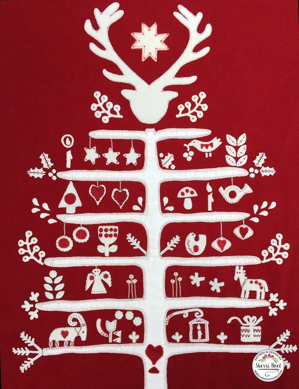 Scandinavian Christmas Tree Block Of The Month Wool Quilt Scandinavian Christmas Trees Scandinavian Christmas Scandanavian Christmas Tree