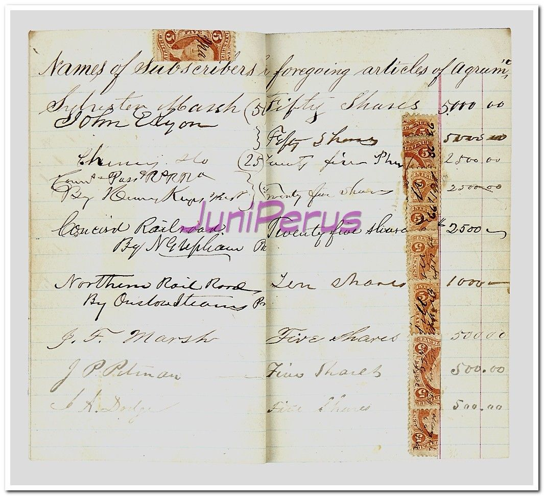 New Hampshire Original Stock Subscription List For The Mount