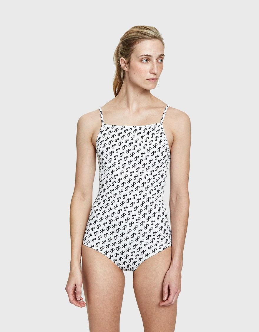 fc515b2cb105e One-piece swimsuit from Saks Potts. Allover signature black-and-white print