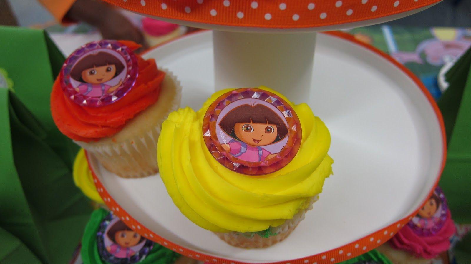 Admirable Dora Themed Birthday Cupcake Icing Dora Dora Cake Personalised Birthday Cards Xaembasilily Jamesorg