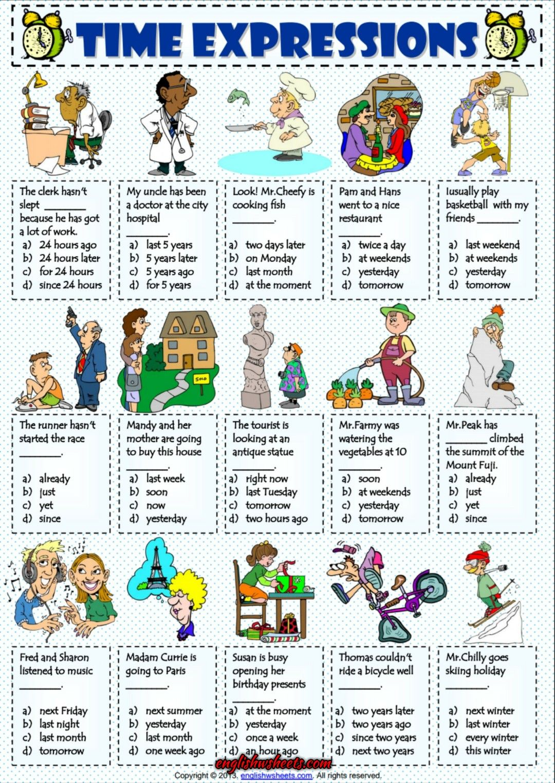time expressions esl multiple choice test worksheet esl printable grammar worksheet and. Black Bedroom Furniture Sets. Home Design Ideas