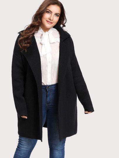d840848351 SHEIN Black Notch Collar Open Front Sweater Coat - $25 (originally $34)