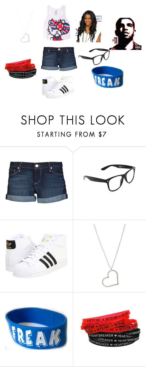 """""""pretty"""" by ishuana-miller ❤ liked on Polyvore featuring Paige Denim, Hello Kitty, adidas, Wet Seal and Goodie Two Sleeves"""