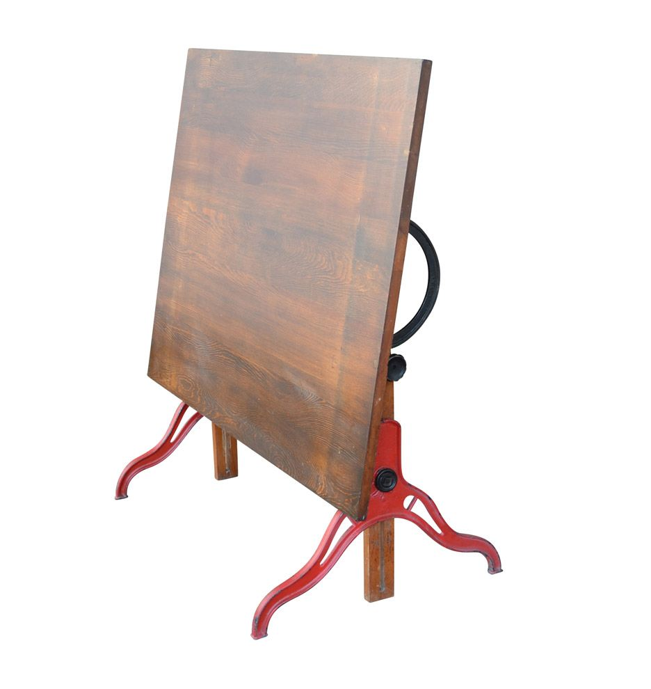 Maple and Cast Iron Drafting Table by Anco Bilt c1930