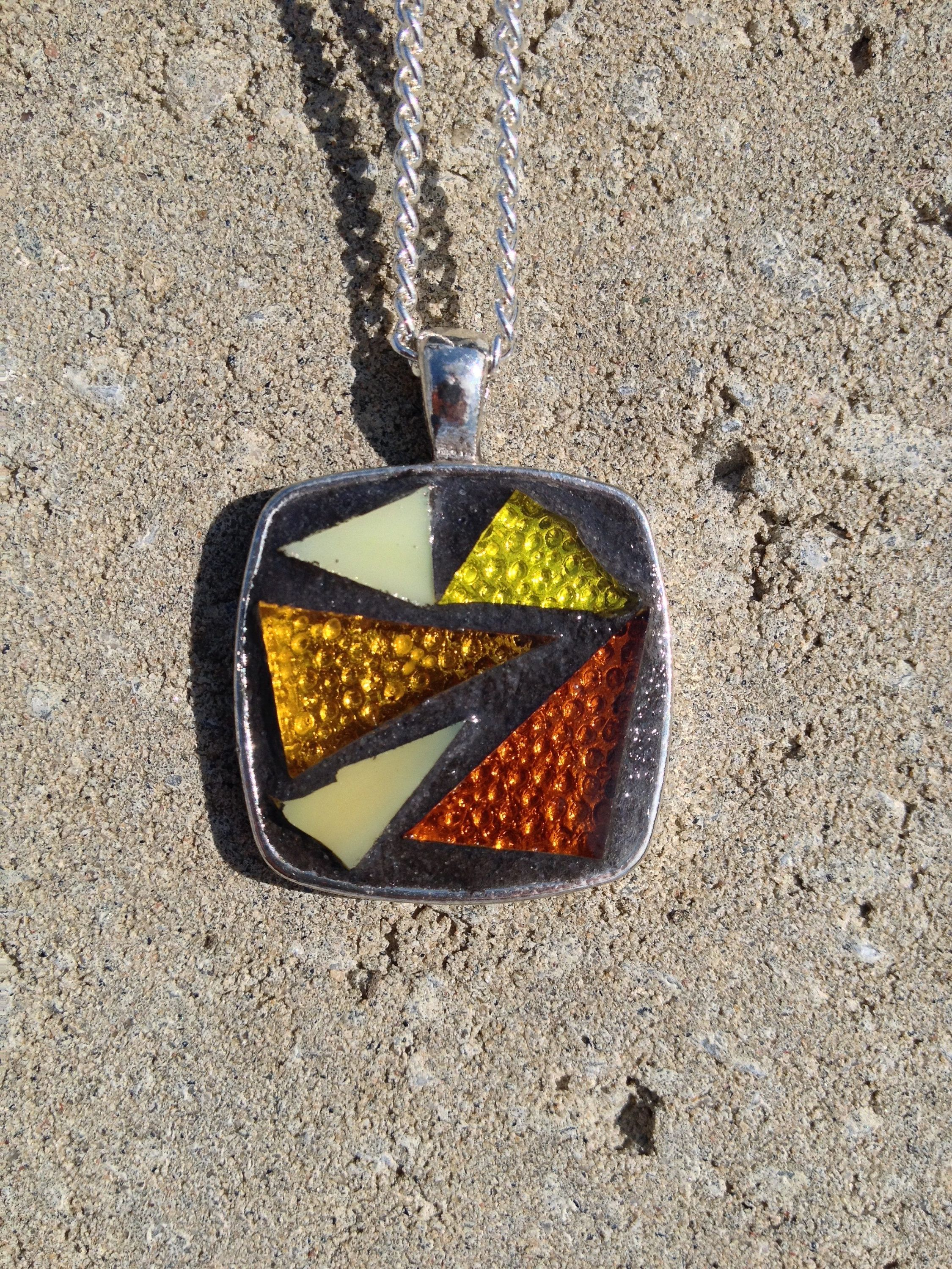 Yellow pendant necklace stained glass pendant mosaic yellow necklace