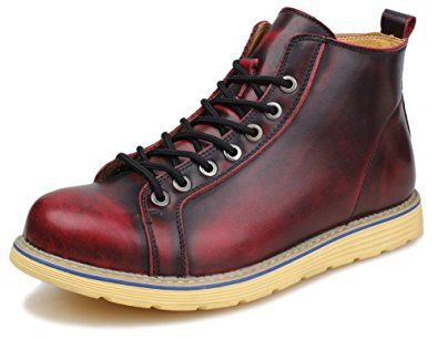kunsto men's leather casual ankle boot lace up review