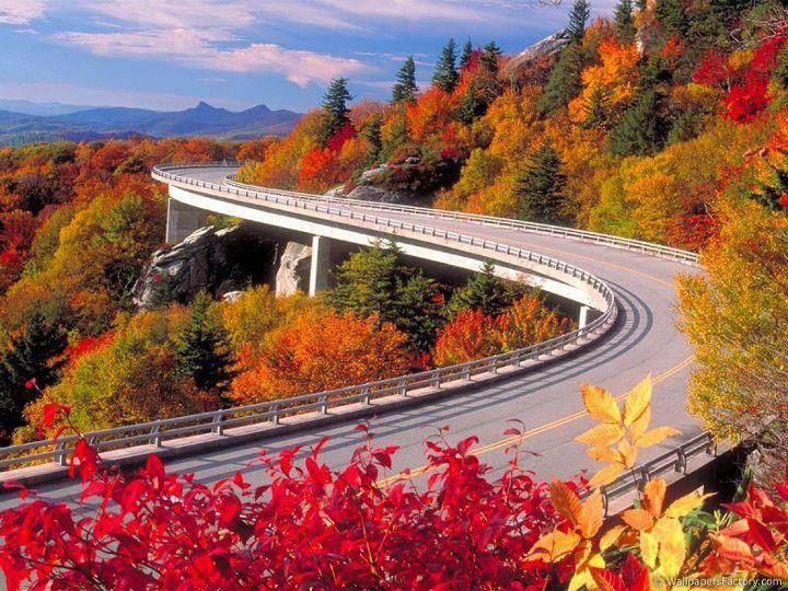 Autumn in the Mountains (Blue Ridge here) and traveling by car and enjoying the scenery.