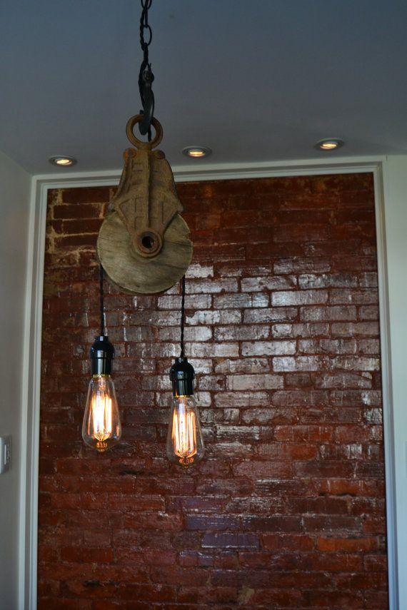 Re purposed Barn Pulley Industrial Light on Etsy