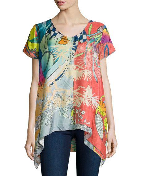 9f1eb6927ae Elly Short-Sleeve Silk Printed Tunic