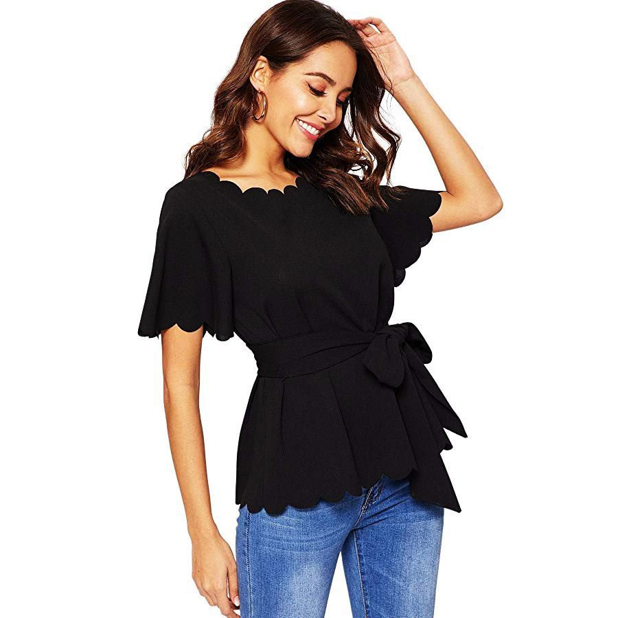 ROMWE Womens Bow Self Tie Scalloped Cut Out Elegant Office Work Tunic Blouse Top