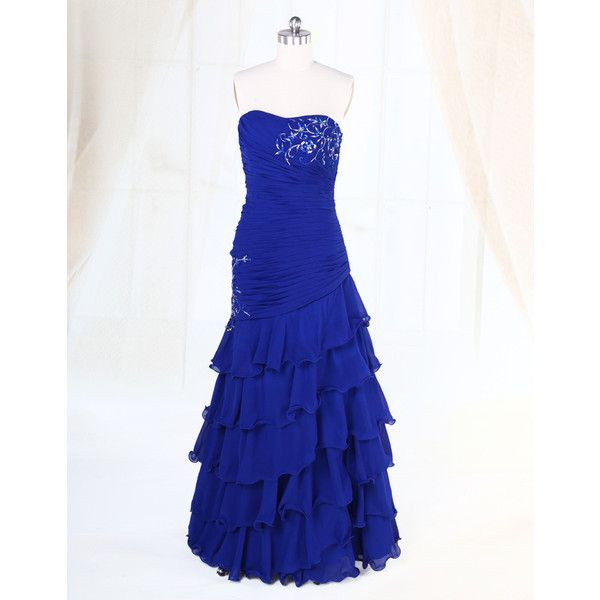 Strapless Embroidery Tiered Chiffon A Line Royal Blue Prom Gowns.jpg ...