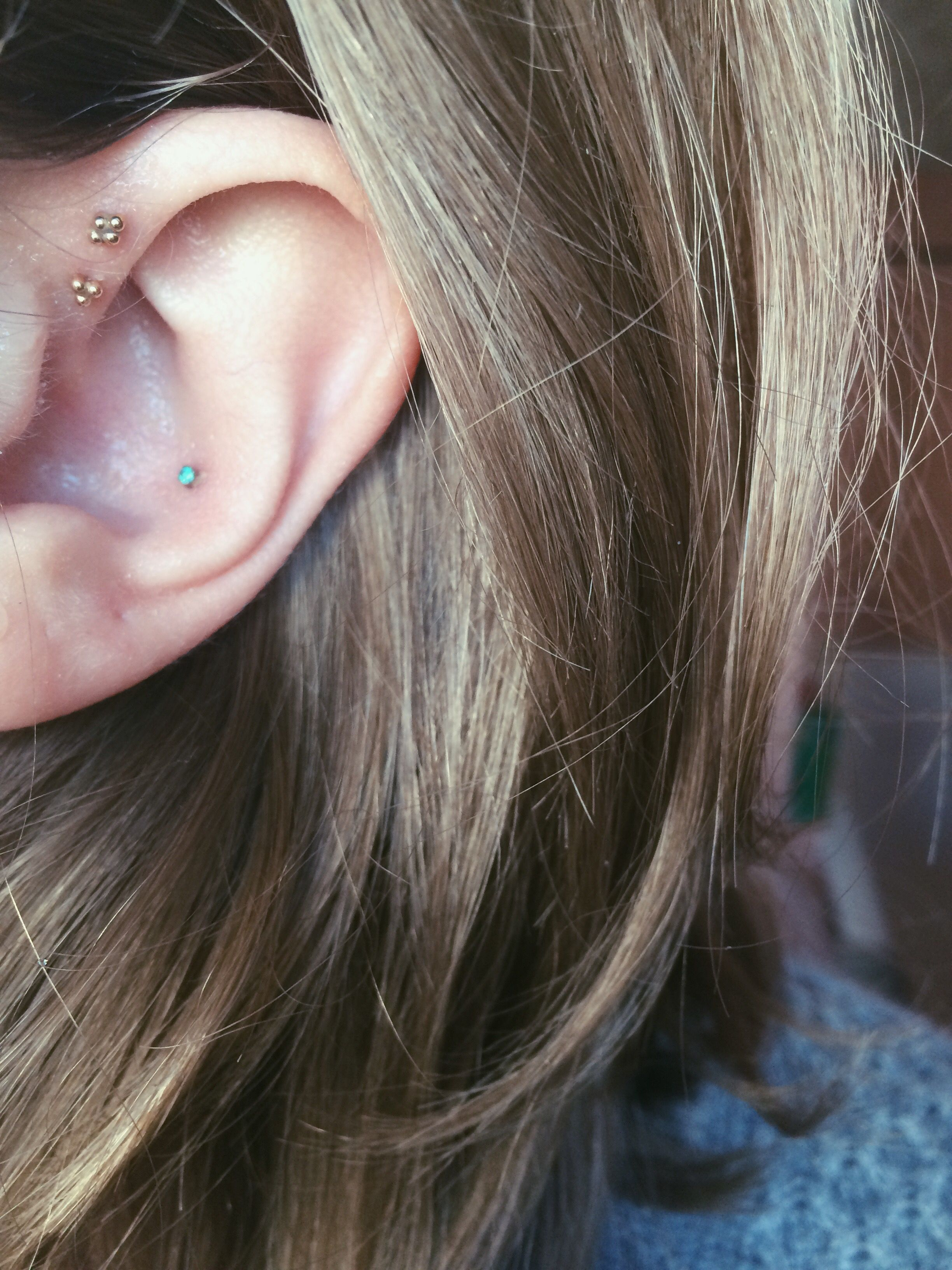 2nd ear piercing ideas  Tiny gold and turquoise earrings double forward helix conch