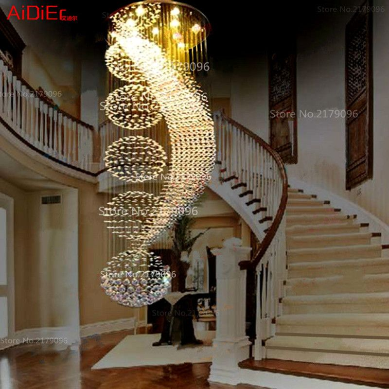 long double staircase modern chandelier lamp LED crystal llights