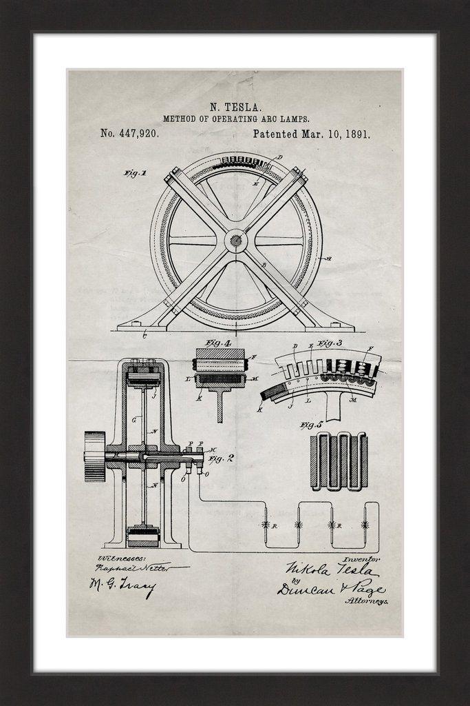 Tesla Arc Lamp 1891 Old Paper Paper artwork, Giclee print and Artwork - new old blueprint art