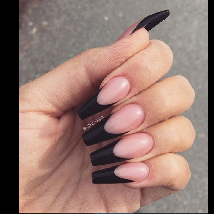 Reverse French Black Manicure Coffin Shape French Tip Acrylic Nails Long Acrylic Nails Black Acrylic Nails