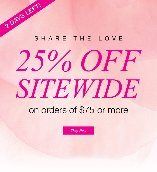 Just 2 days left for this Sweetheart of a sale!   25% off of any $75 order!! Use coupon code 25LOVE at checkout.   FREE SHIPPING with any $35 order.  Offer expires midnight Fri 2/6/2015 EST. Direct delivery orders only.  www.youravon.com/bstarkweather
