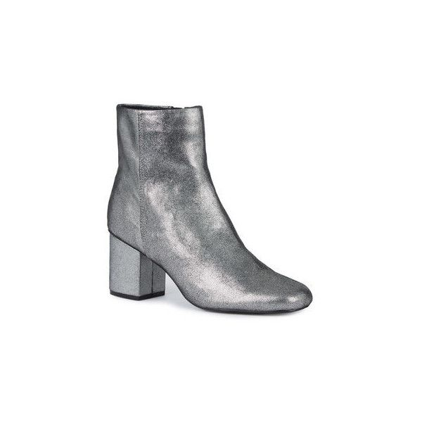 Warehouse Warehouse Square Toe Ankle Boot Size 36 (£79) ❤ liked on Polyvore featuring shoes, boots, ankle booties, pewter, square toe boots, ankle boots, short boots, bootie boots and ankle bootie boots