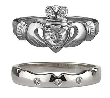 2 pc diamond irish claddagh ladies ring set 14K White Gold Silver