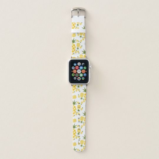Tropical Pineapple Apple Watch Band White