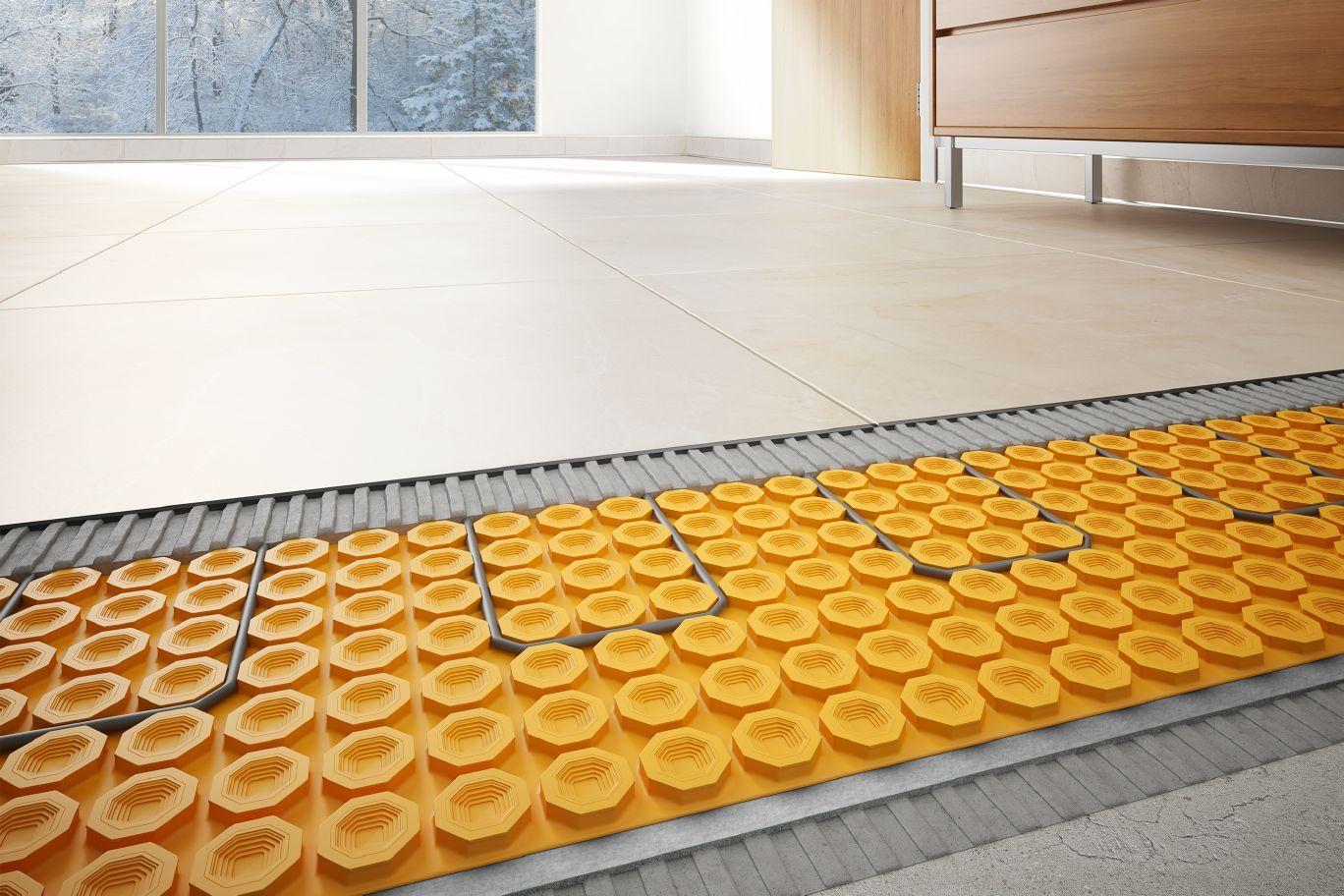 Schluter Ditra Heat Duo Sound Control Thermal Break Compatible W Heating Cables Installing Hardwood Floors Flooring Installing Tile Floor