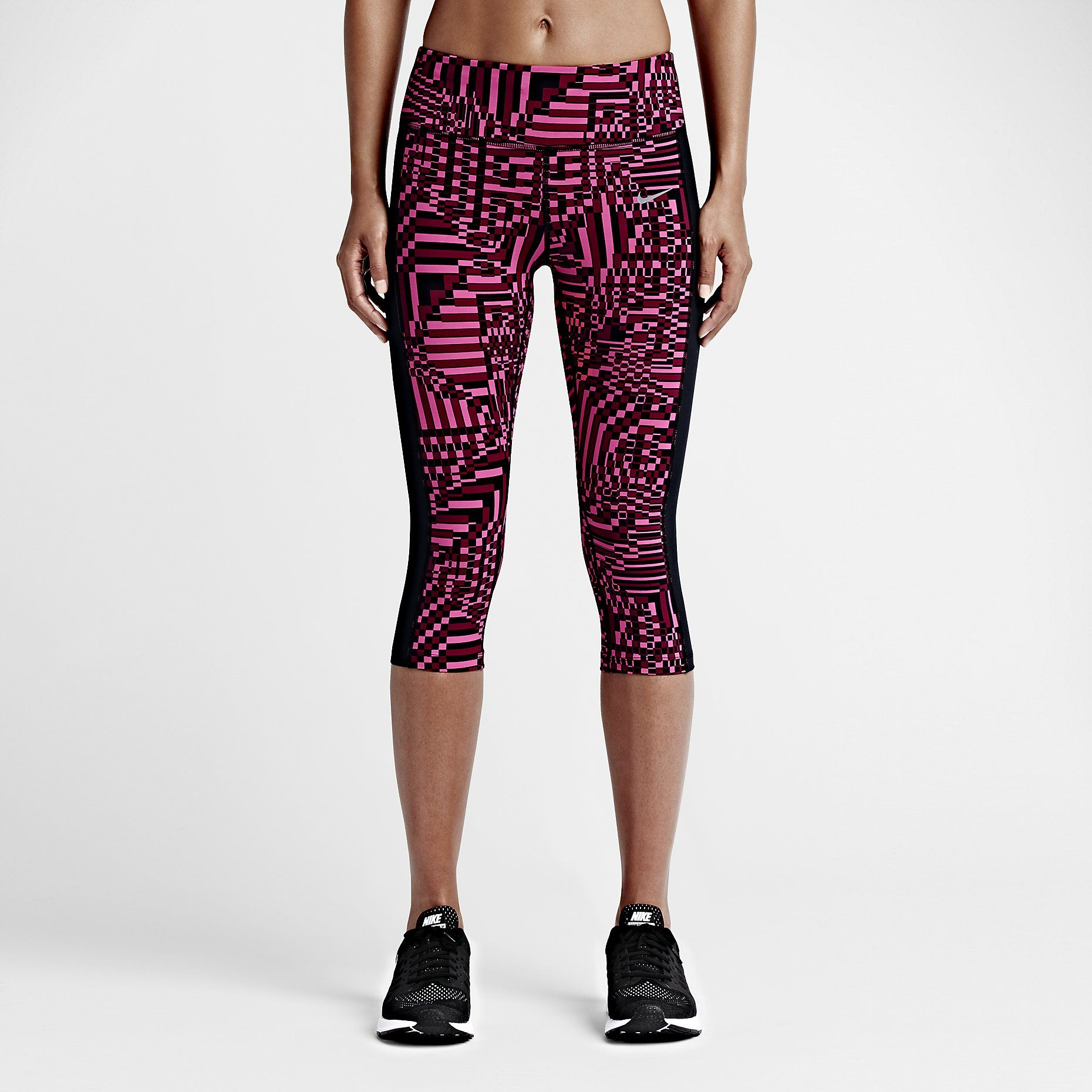 Women Clothing Tights Light Crimson/Black Nike Palm Epic Lux Running Crop Tight
