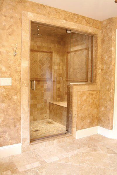 Bathroom Knee Wall knee wall in conjunction with bench. tile pattern with square with