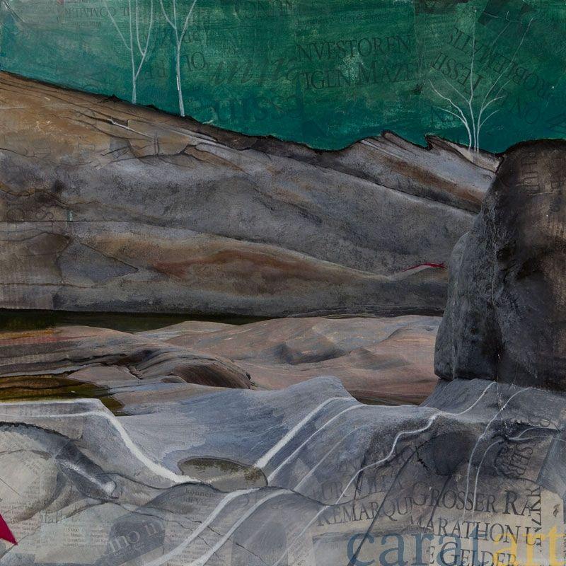 Andreas Oesch, Verzasca 39, Mischtechnik – Foto, Pappmaché, Acryl, 45 x 45 cm, 2011, 570 €, VERKAUFT