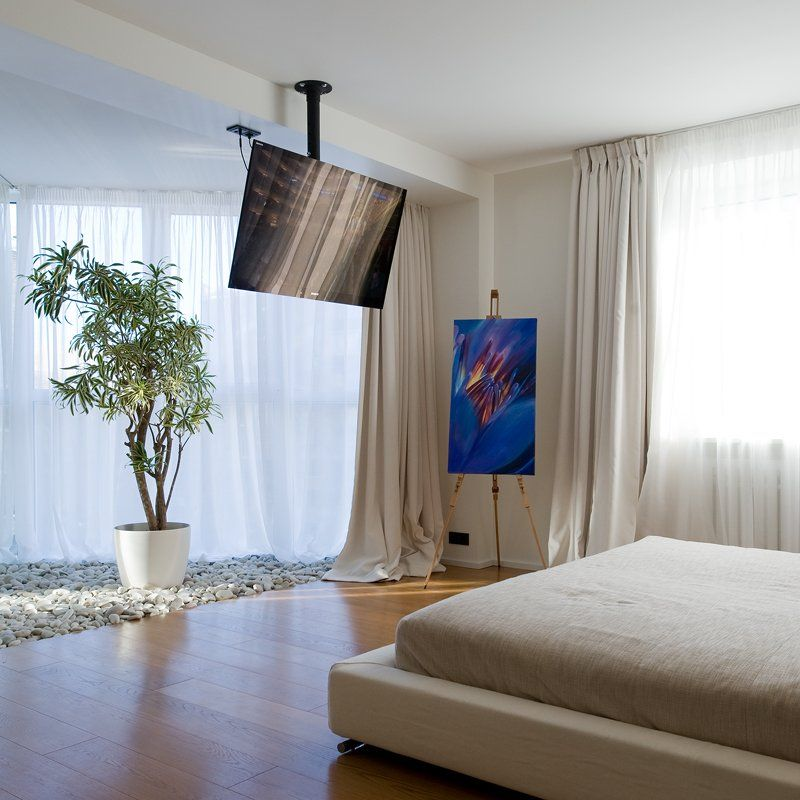 Contemporary-Apartment-Bedroom-Interior-with-Modern-Ceiling-TV-Mount ...