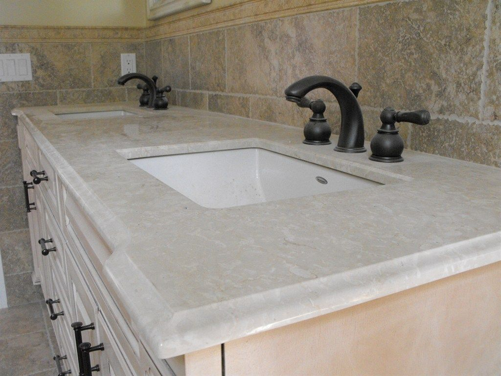 Example Of Ogee Edge In Marble Vanity Via Palace Stone