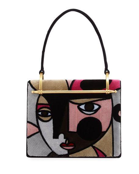 973be58000 PRADA Pionerre Cubist Velvet Shoulder Bag