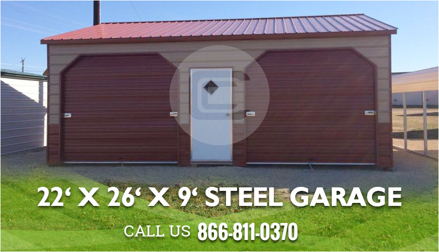 22x26 Metal Garage Structure With Side Entry For Sale Steel Roofing Steel Garage Metal Garages