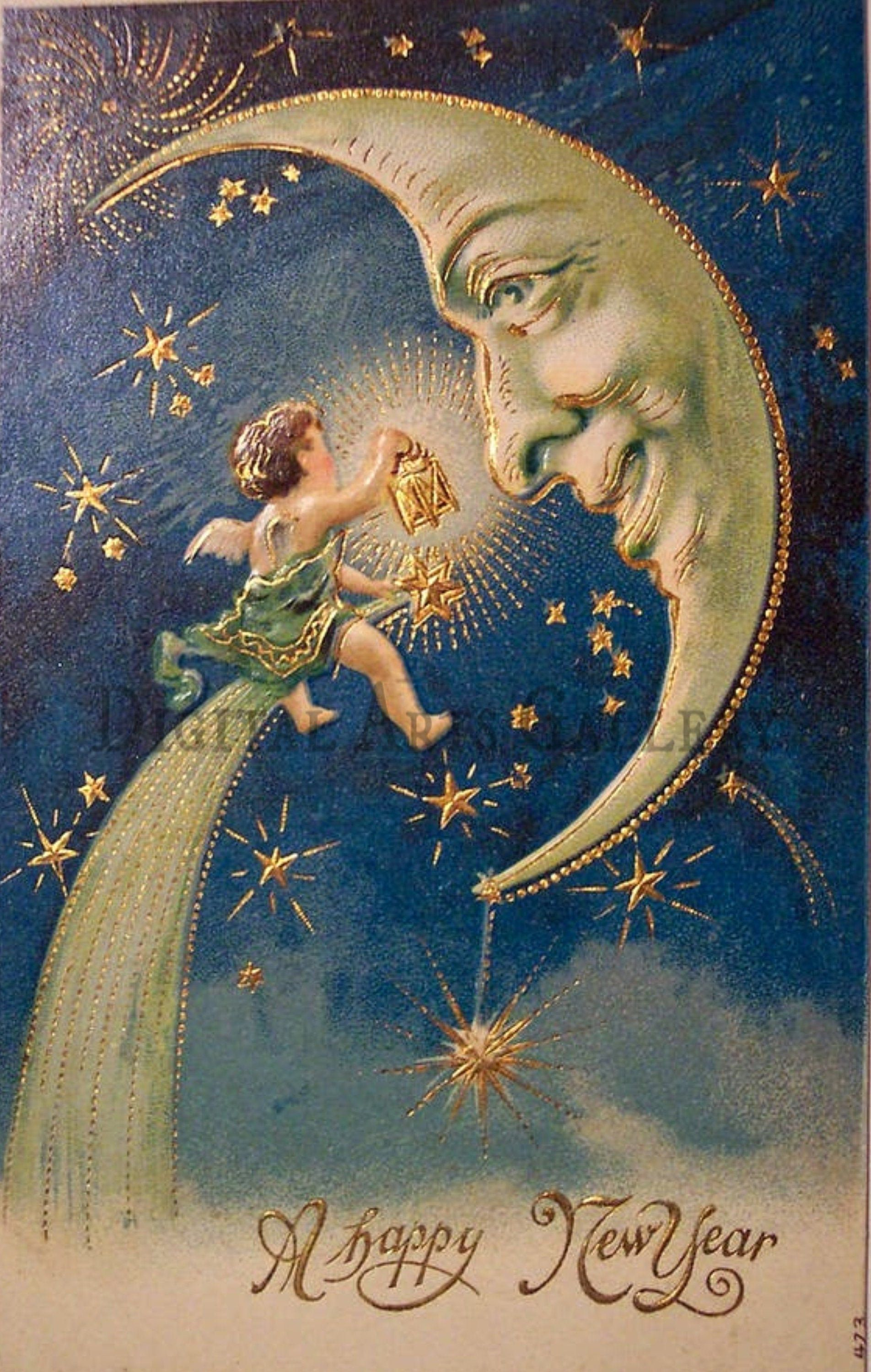 Vintage Baby New Year Meets The Man On The Moon Digital Etsy Vintage Happy New Year Moon Art New Year Postcard