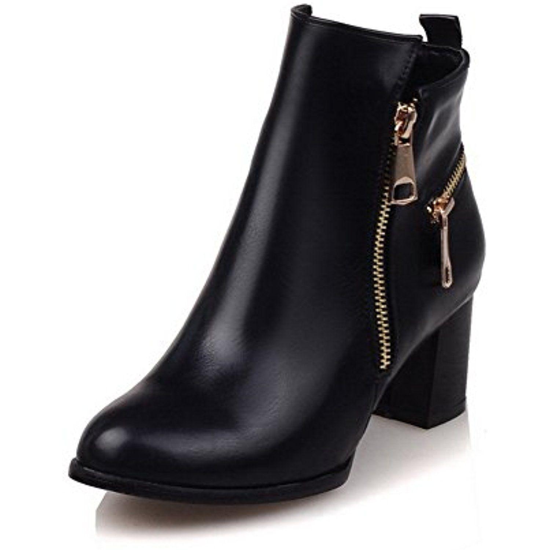 Women's PU Low-top Solid Zipper Kitten-Heels Boots with Metal