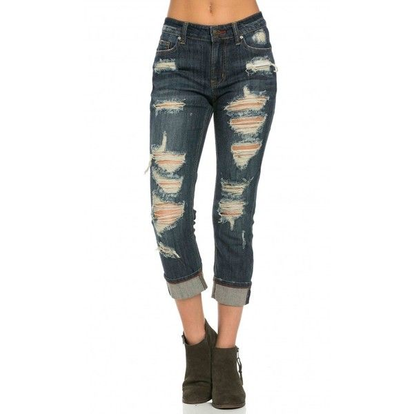 Cuffed and Destructed Boyfriend Jeans in Dark Wash ($40) ❤ liked ...
