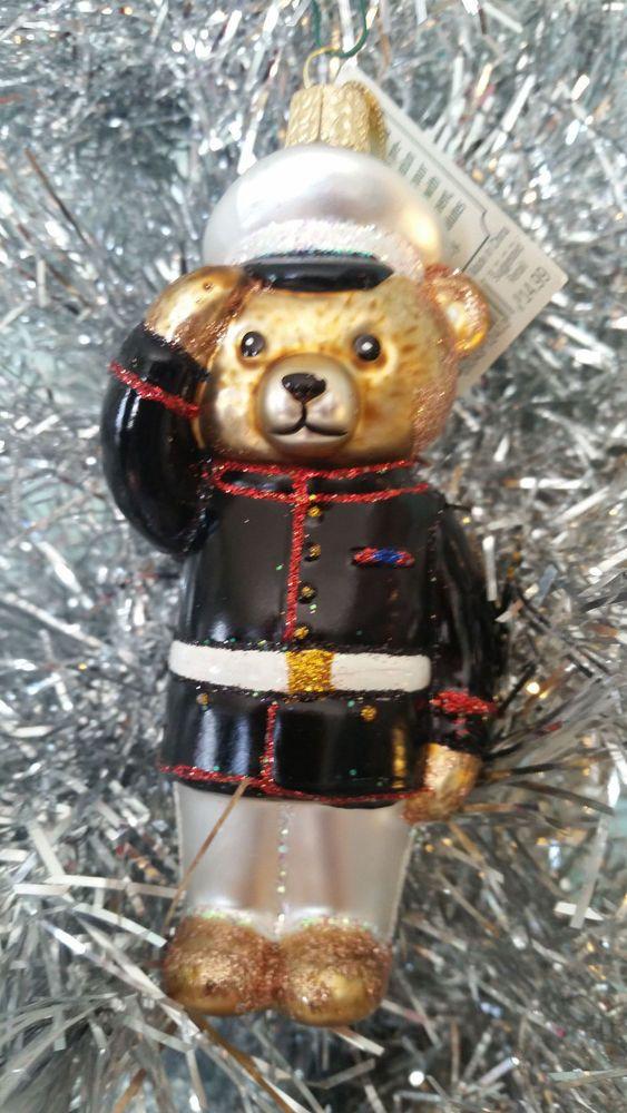 MARINE BEAR OLD WORLD CHRISTMAS GLASS MILITARY SEMPER FI ORNAMENT NWT 12403 U.S