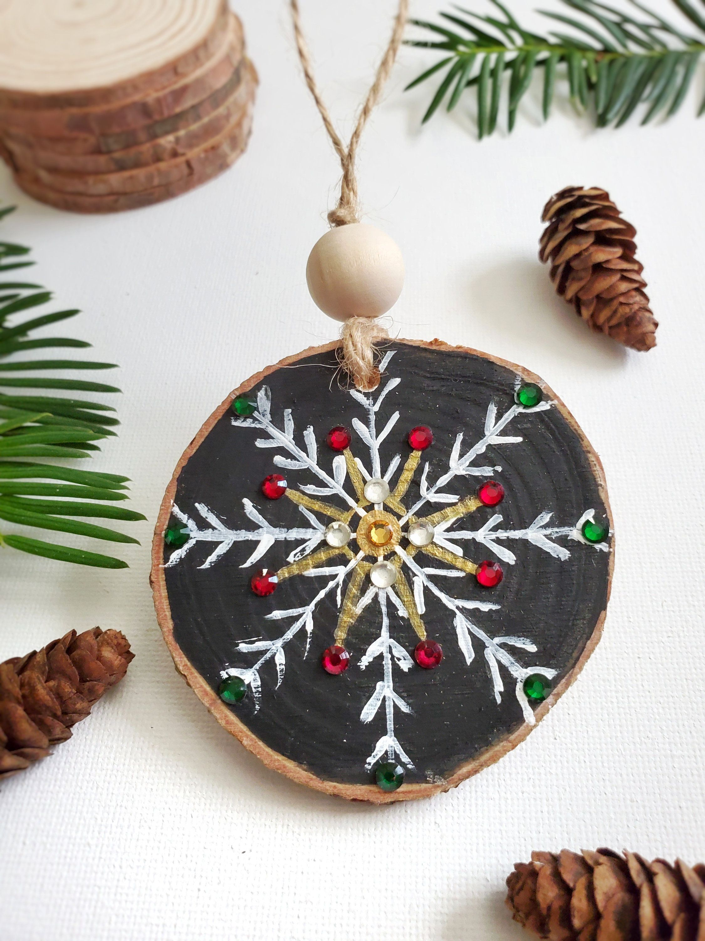 Snowflake Ornamentchristmas Ornament Wood Slice Ornament Etsy In 2020 Christmas Crafts For Gifts Christmas Ornament Crafts Handmade Christmas Ornaments