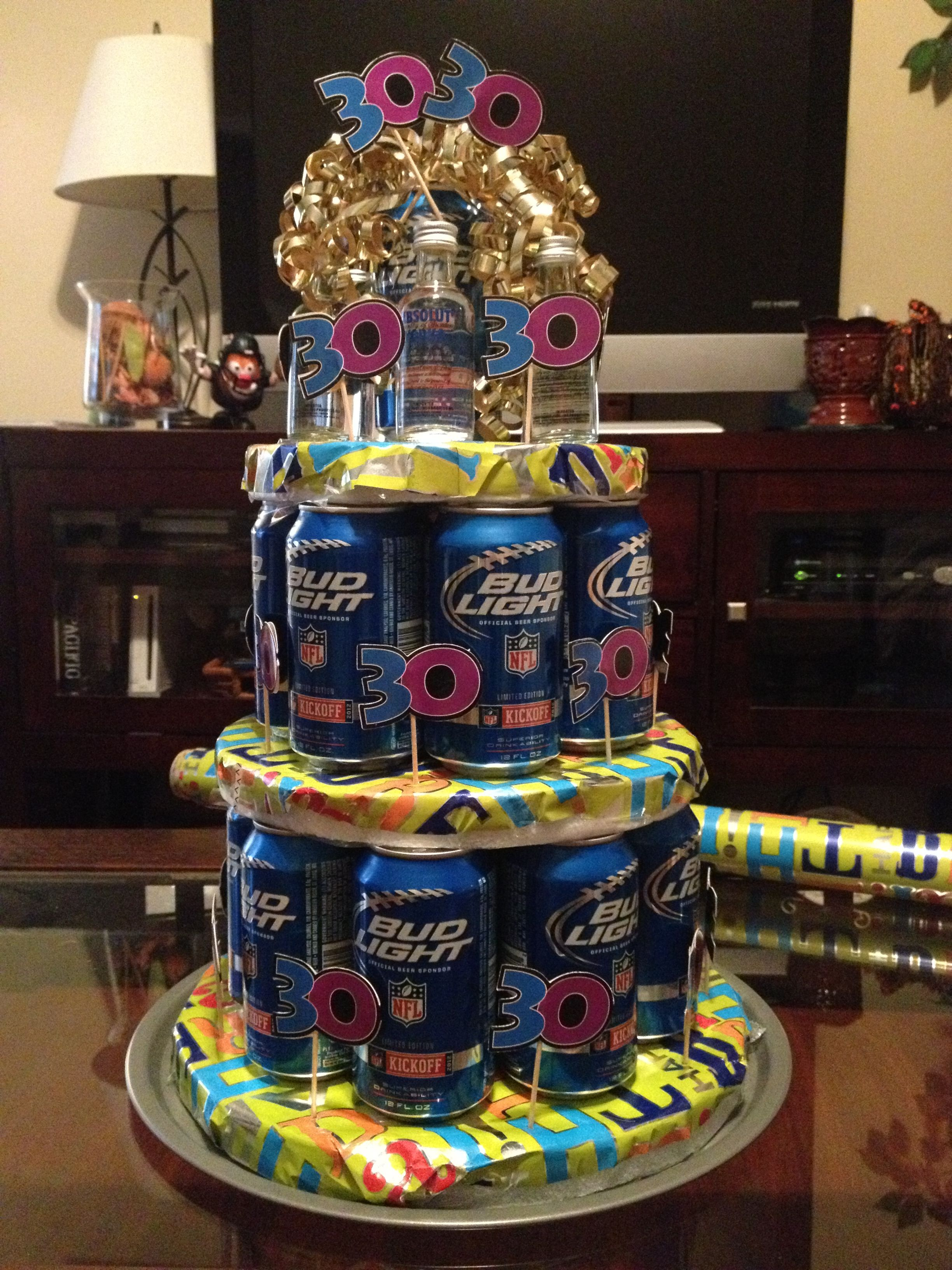 Beer cake im so doing this for my husband when he turns