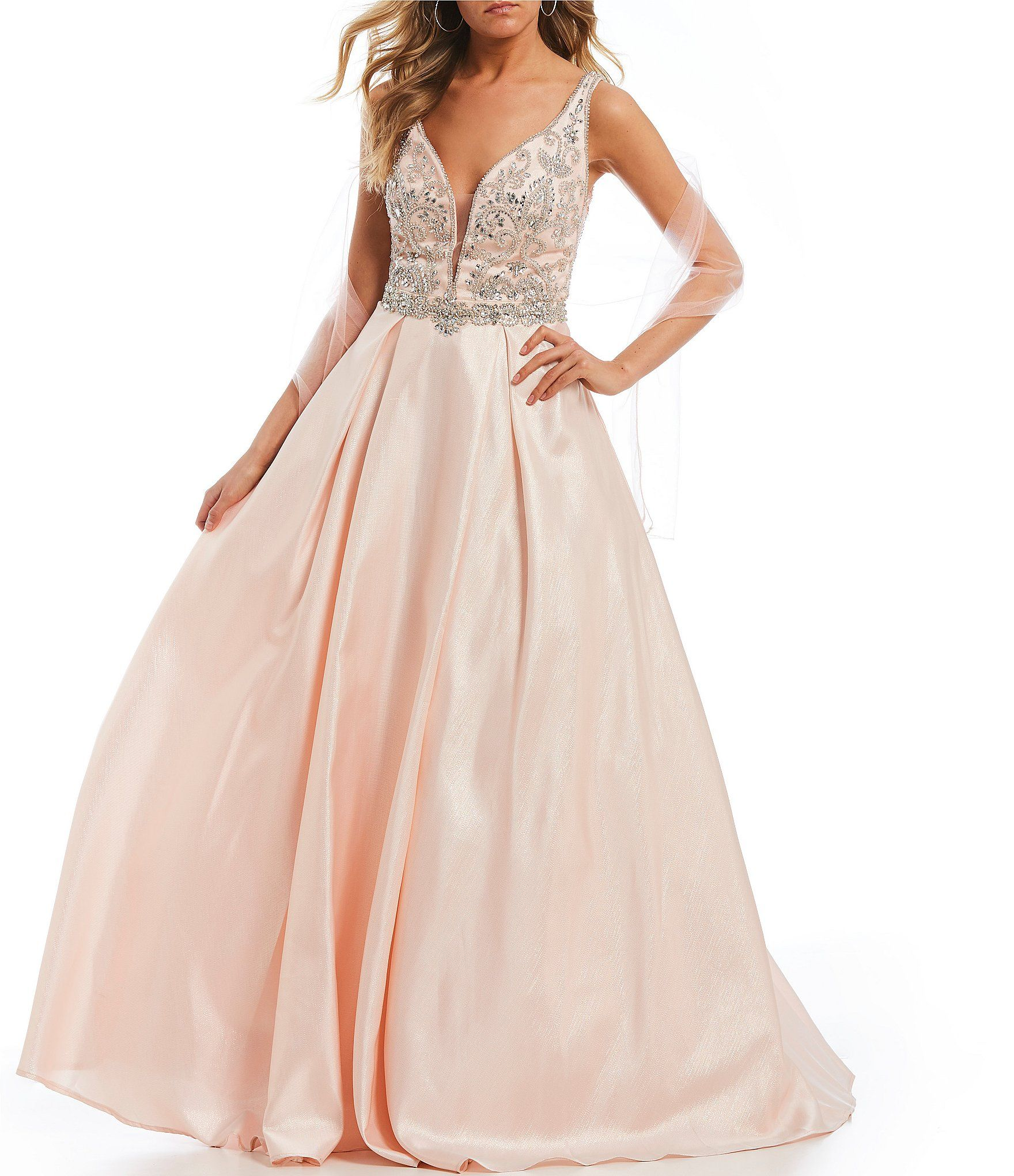2fc35f7bc31 Shop for Coya Collection Deep-V Beaded Bodice Satin Ballgown at Dillards.com.  Visit Dillards.com to find clothing