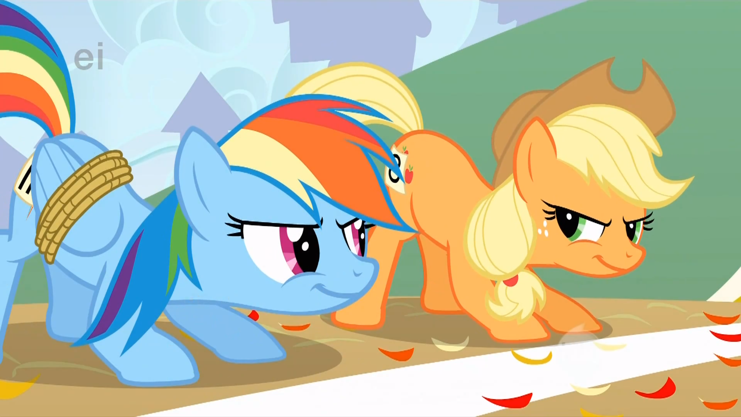 Rainbow Dash And Applejack Are Ready To Race With Images My