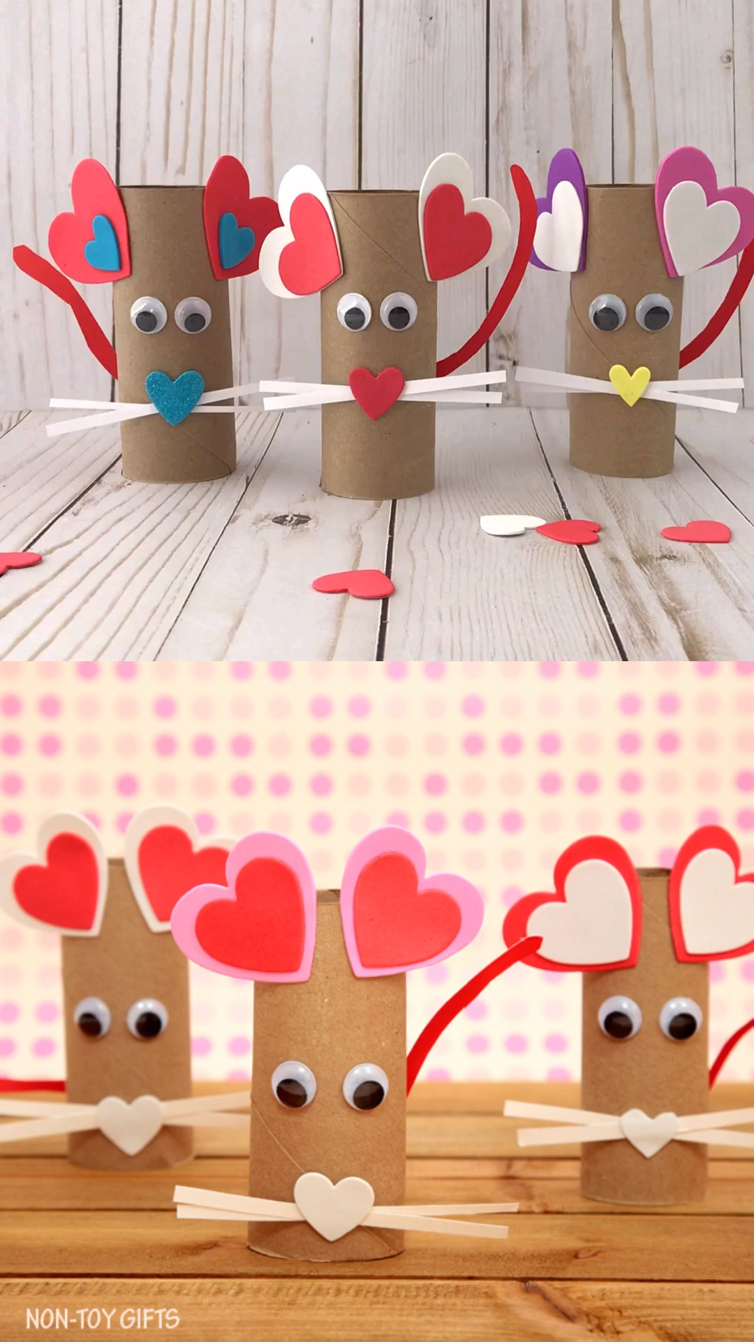 Paper roll heart mouse - Valentine craft for kids