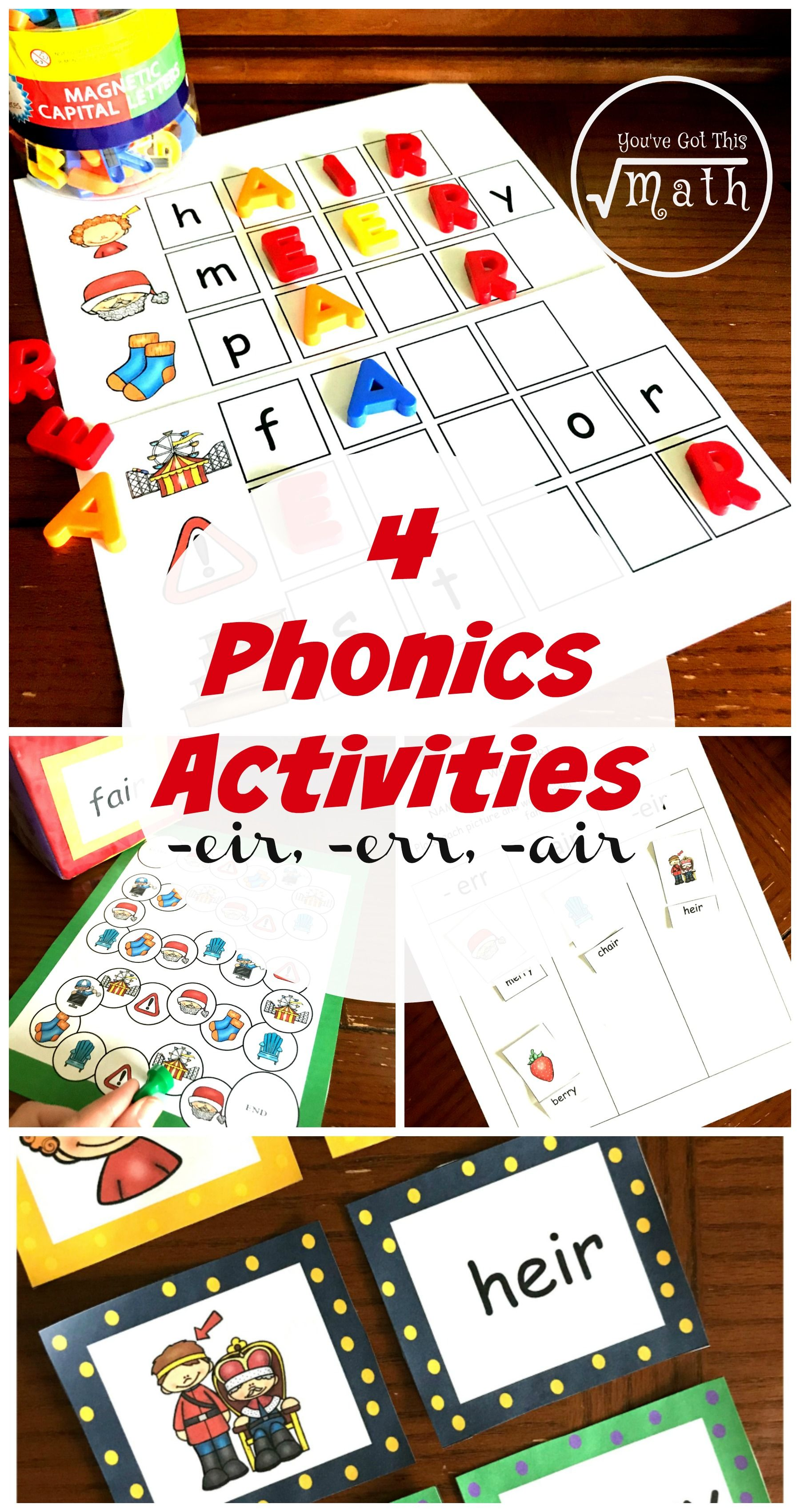 4 Activities For Eer Eir And Air Phonics