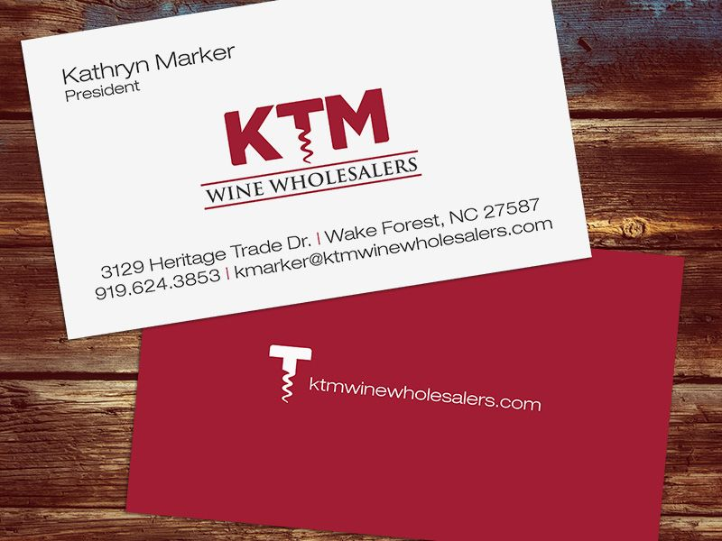 Business Card Design KTM Wine Wholesalers, Wake Forest, NC by ...