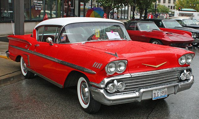 1958 Chevrolet Impala 2-Door Hardtop in Rio Red and Artic White (2 of 5) by myoldpostcards, via Flickr