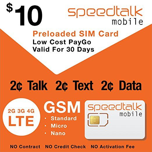 Speedtalk Mobile Prepaid Sim Card Preloaded With 1st Month Service