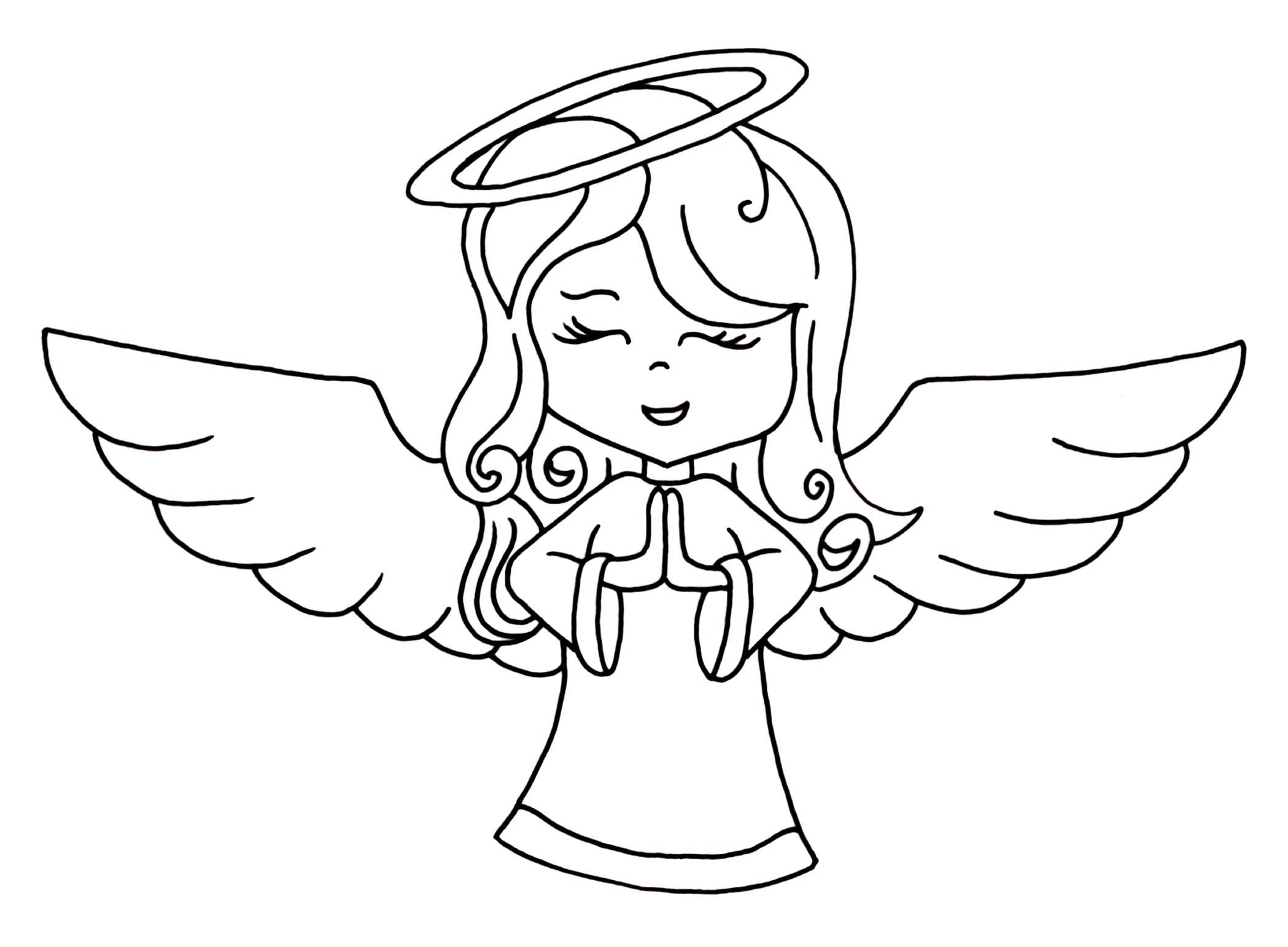Imagenes de angeles para colorear para niños | ángeles para colorear