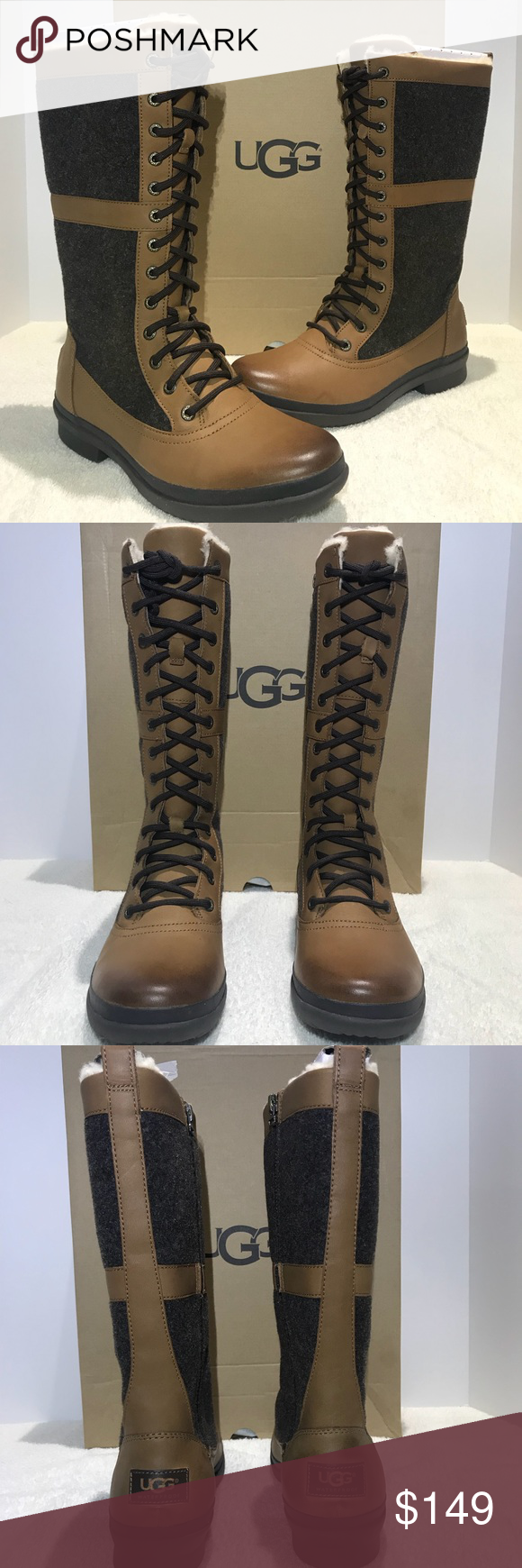 45a7c461d2a UGG Shoes | Ugg Elvia Tall Boots Women Laceup Chestnut 1018473 ...
