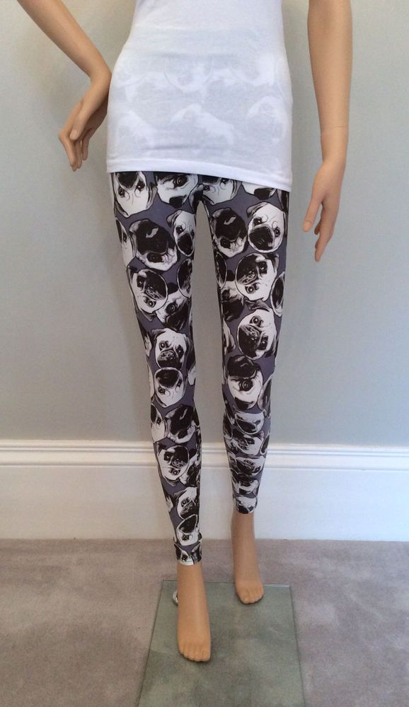 Details about Ladies Grey PUG DOG Leggings from PRIMARK