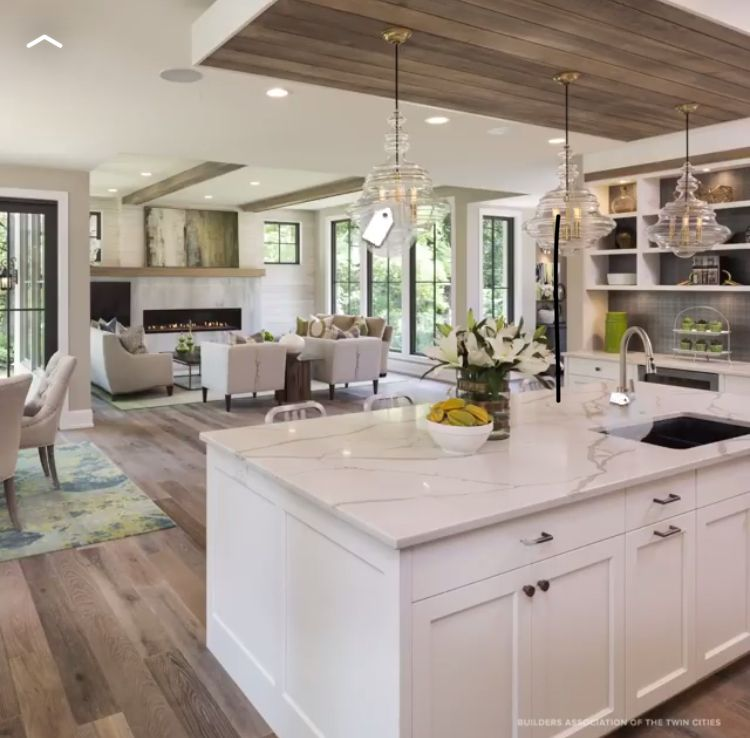 Love This Open Floorplan And The White Kitchen And Big Island Open Plan Kitchen Living Room Open Concept Kitchen Kitchen Living