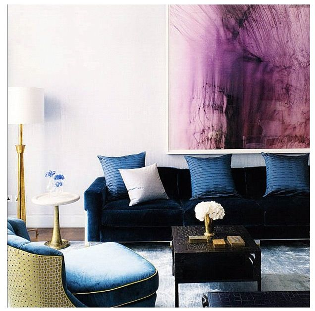 Best Purple Artwork With Blue Sofa House Interior Interior 400 x 300